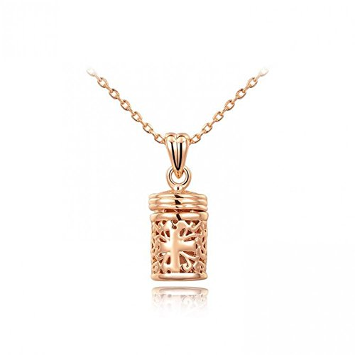 Ice Age Women'S Stainless Steel Hollow Body Chain Mini Bottle Necklace Color Rose Gold