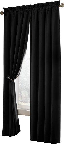 """Maytex Velvet Blackout Panel Curtain, Black, 40"""" X 84"""" front-547585"""