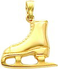 14K Gold 3D Ice Skate Charm