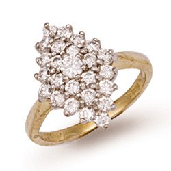 9ct Yellow Gold 17mm Fancy Cluster Ring - M