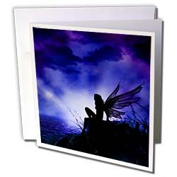 Florene Fairies n Fantasy Silhouette Of Fairy Against Purple Sky Greeting Cards 12 Greeting Cards with envelopes
