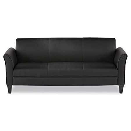 Alera® - Reception Lounge Furniture, 3-Cushion Sofa, 77w x 31-1/2d x 32h, Black - Sold As 1 Each - Classic simple lines.