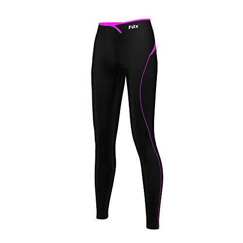 Super FDX termica da donna, strato Base a compressione, Leggings, pantaloni aderenti da corsa, palestra, Fitness multicolore  nero/rosa XL (UK Dress Size 18-20)