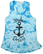 The Classic Brand Blue Girls 7-16 Anchor Your Dreams Tie Dye Racer Back Tank Top