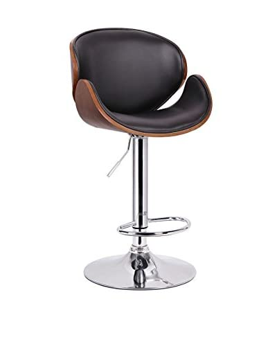 Baxton Studio Crocus Bar Stool, Walnut/Black