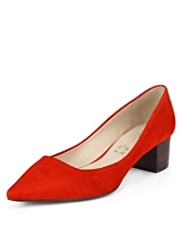 Autograph Suede Wide Fit Pointed Toe Block Heel Shoes with Insolia®