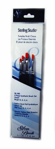 Silver Brush SS-102 Sterling Studio Golden Taklon Short Handle Bright Brush Set, 4 Per Pack - 1