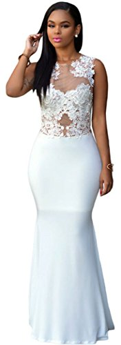 Blorse White Lace Nude Mesh Evening Maxi Dress(Size,M)