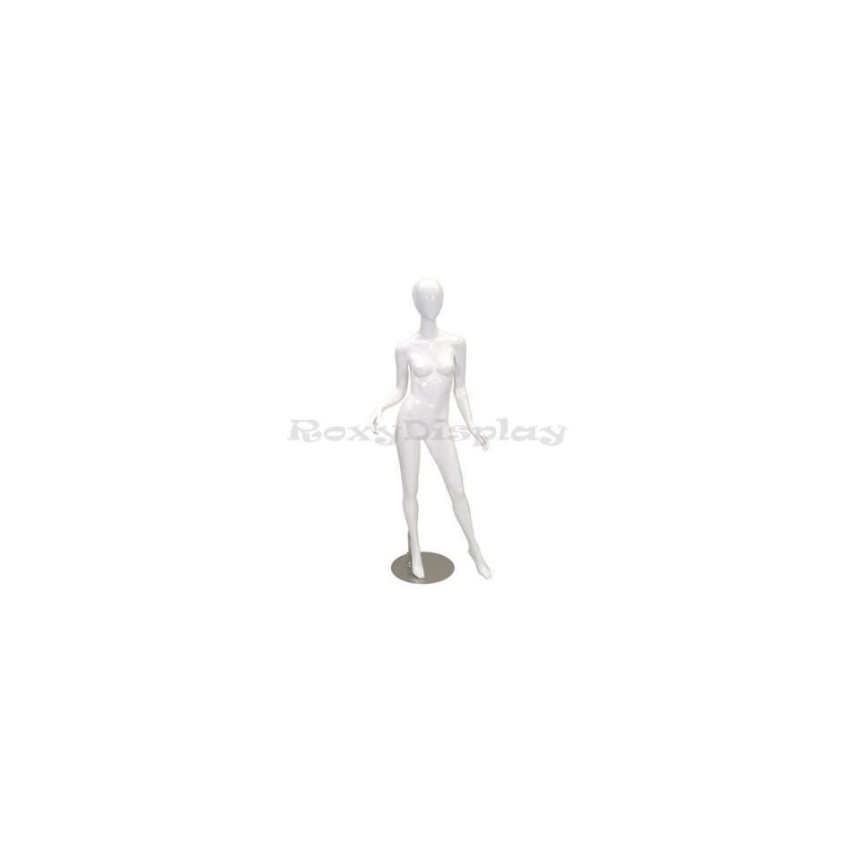 (MD A2W1) Abstract Female Egg Head Mannequin Glossy White Fiber Glass