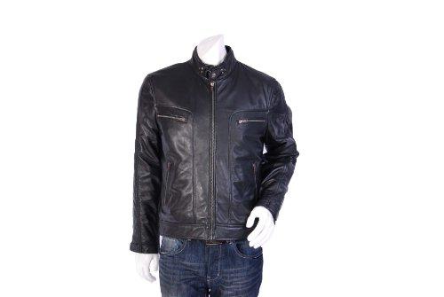 Mens Leather Biker Jacket M Bentonite Black Gents Fitted Biker Leather Jacket (M)