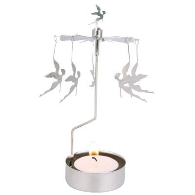 Rotating Spinning Fairy Silver Tea Light Candle Holder