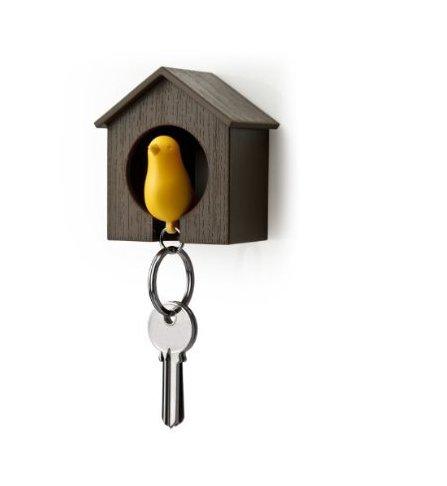 Birdhouse Key Ring - Brown House with Yellow Bird (Pretty Tweens)