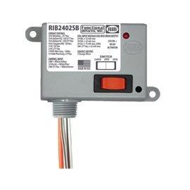 Functional Devices (RIB) RIB2402SB Enclosed Relay 20Amp SPST-NO + Override 24Vac/dc/208-277Vac
