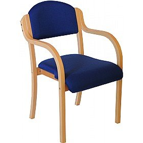 Devonshire Wooden Frame Stacking Chair With Arms - Blue