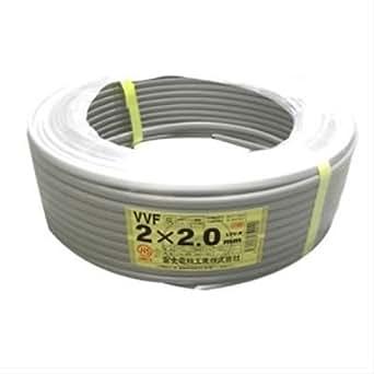 富士電線 VVFケーブル 2.0mm×2心 100m巻 (灰色) VVF2.0mm×2C×100m