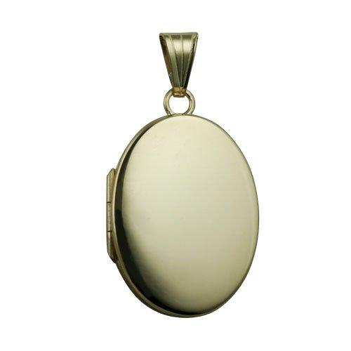 9ct Gold 26x19mm plain flat oval Locket
