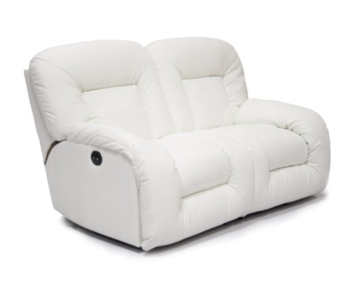AC Pacific Bruno Power Dual Reclining Loveseat White Bonded Leather
