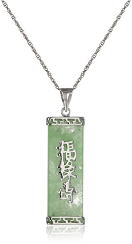 "Rhodium-Plated Sterling Silver Green Jade ""Good Fortune, Prosperity, and Longevity"" Pendant Necklace"