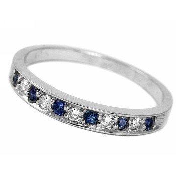Sapphire & Diamond Wedding Band 14k White Gold