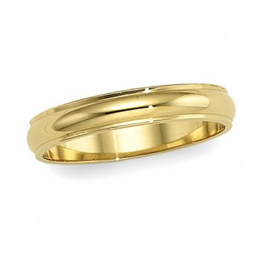 18K Yellow Gold, Edged Half Round Wedding Band 5MM (sz 8)