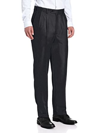 Louis Raphael Men's Luxe Pleated Hidden Extension Dress Pant, Charcoal, 30x30