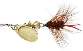 Mepps Aglia and Black Fury Spin Fly Wooly Worm Fishing Lure, 1/12-Ounce, Gold/Brown Tail