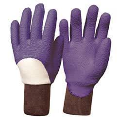 Essential latex rose gardening gloves purple size 8 for Gardening gloves amazon