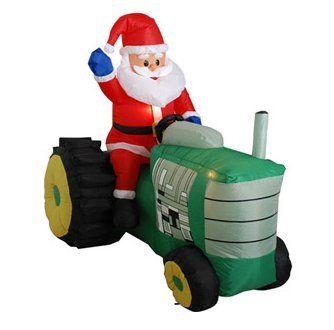 5' Tall Airblown Santa on a Tractor Christmas Inflatable - Garden outdoor decoration