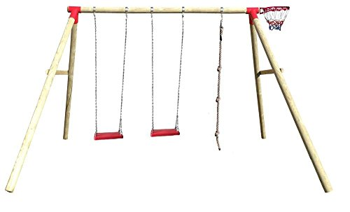 Spilli Outdoor World Altalena per ragazzi e adulti 'Fir' XXL sedili in gomma in rosso, canestro da basket, giunti ROSSI