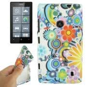 Abstract Flowers Pattern TPU Protection Case for Nokia Lumia 520