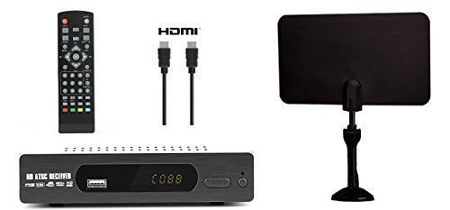 Digital Converter Box + Flat Antenna + HDMI Cable for Recording & Viewing Full HD Digital Channels for FREE (Instant & Scheduled Recording, DVR, 1080P, HDMI Output, 7 Day Program Guide & LCD Screen)