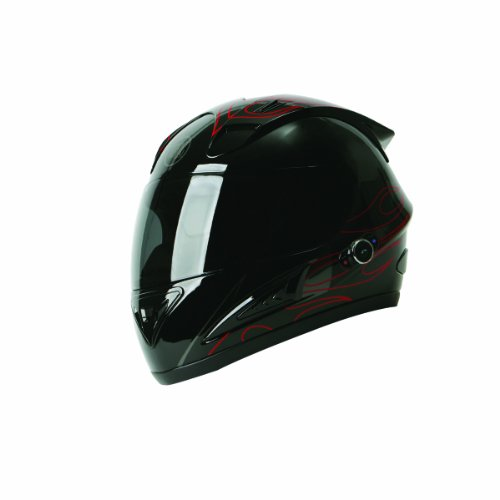 TORC T10B Prodigy Full Faced Helmet with Blinc 2.0 Stereo Bluetooth Technology and 'Coupe' Graphic (Flat Black, Large)