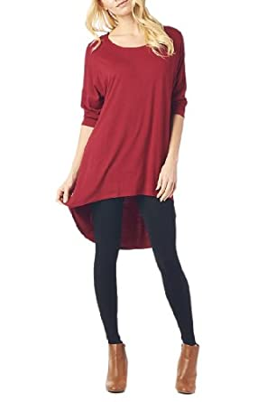 Women'S Rayon Span High & Low Tunic with 3/4 Sleeves - Burgundy S