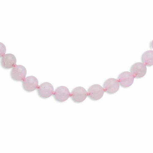 PriceRock 8-8.5mm Smooth Beaded Rose Quartz Necklace