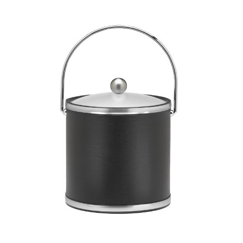 Kraftware Brushed Chrome Ice Bucket With Bale Handle And Metal Cover, Black - 3 Quart
