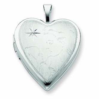 Sterling Silver 20mm Mother and Baby Heart Locket