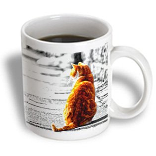 Mug_172991_2 Doreen Erhardt Cats - Sweet Orange Tabby Cat Tinted Painting Of A Cat Sitting In The Sun. - Mugs - 15Oz Mug