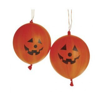 Dozen Halloween Rubber Jack-O-Lantern Party Pumpkin Puch Balls With Handles