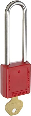 "Master Lock 410 Series Zenex Lockout/Tagout Padlock, Keyed Different, 1-3/4"" Body Length, 3"" Shackle Clearance"