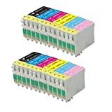 Odyssey Supplies® - Compatible Ink Cartridges For Epson Stylus Photo R200, R220, R300, R320, R340, RX500, RX600, RX620, RX640, T0481 Black, T0482 Cyan, T0483 Magenta, T0484 Yellow, T0485 Light Cyan, T0486 Light Magenta (24 pack)