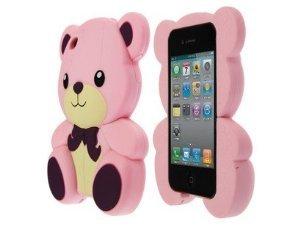 HJX Pink Iphone 4 Cute 3D Big Teddy Bear Hybrid