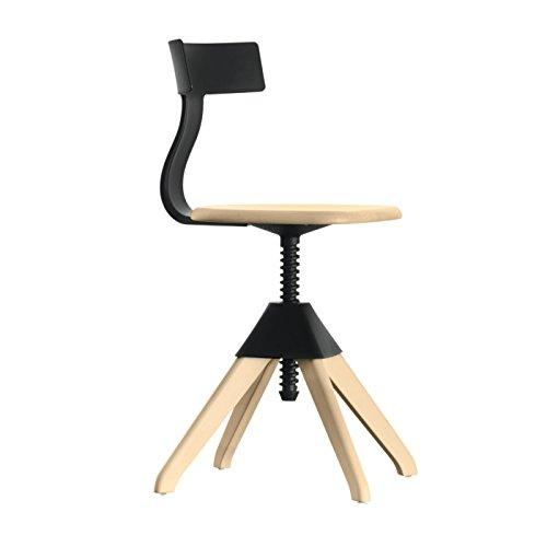 Magis Tuffy The Wild Bunch Stuhl, schwarz Gestell Buche massiv drehbar H: 71-90cm Sitzhöhe: 42-61cm