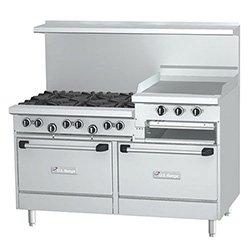 """Garland U60-6G24Rr Commercial Gas Range 60""""W, 6 Burners, 2 Standard Ovens, 24"""" Griddle"""