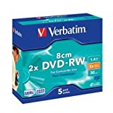 128166 - Verbatim 8cm DVD-RW for Camera Slim Case Speed 2x Capacity 1.4GB (Pack of 5)