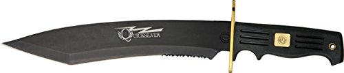Frost Quicksilver Bowie Tanto Fixed Blade Knife, 10.25in, Serrated Tanto, Black Fingergrooved