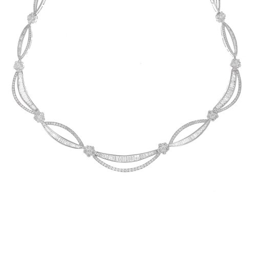 14k White Gold 9.66 Carat Diamond Statement Necklace