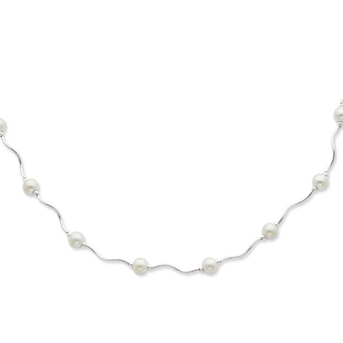 Sterling Silver Satin Bead Necklace - 17 Inch