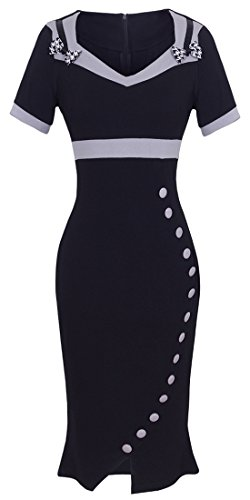 HOMEYEE Women's Elegant Bowknot Tunic High Waist Career Dress KB220 (14, Black)