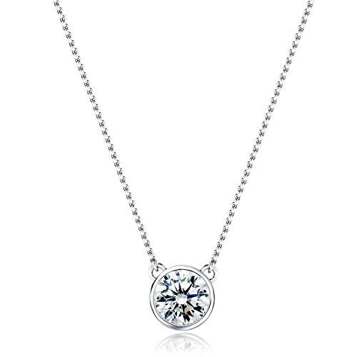 [ジュエリーキャッスル] Jewelry Castle ネックレス 0.6カラット ベゼル 一粒ネックレス CZダイヤモンド ( キュービックジルコニア )