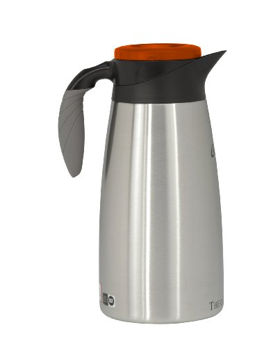 Wilbur Curtis Thermal Dispenser Pour Pot, 1.9L S.S. Body S.S. Liner Brew Thru Tall, Decaf - Commercial Airpot Pourpot Beverage Dispenser - TLXP1901S000D (Each)